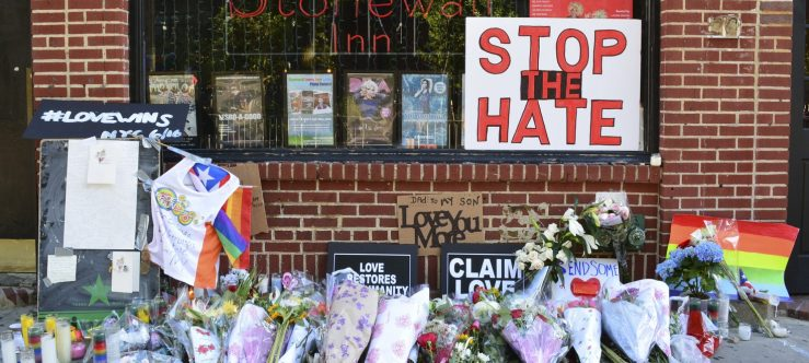 New York, USA - June 12, 2017: Memorial outside the landmark Stonewall Inn in honor of the victims of the mass shooting at a gay nightclub in Orlando in New York City in 2016.